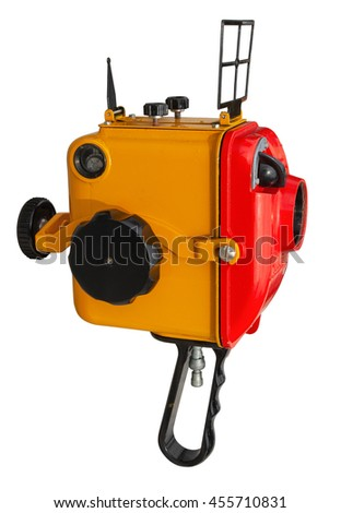Old underwater housing for 8 mm film movie camera isolated on white. Clipping path included. - stock photo