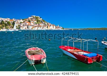 Old UNESCO town of Sibenik coast view, Dalmatia, Croatia - stock photo