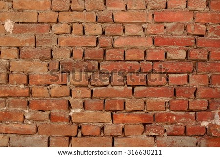 Old Uneven  Crumbling Red Brick Wall Background Texture