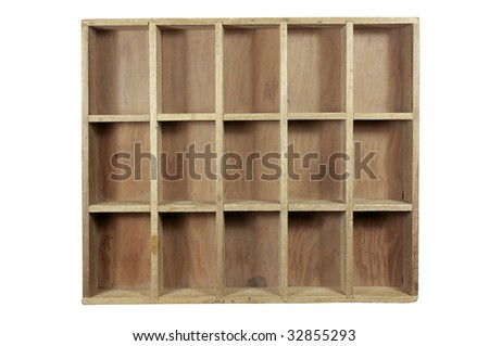 Old unfinished wood box with 15 nice empty spaces to fill. Dust and grunge intact. Outlined with work path. All in focus. - stock photo