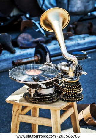 Old unique hand made gramophone - stock photo