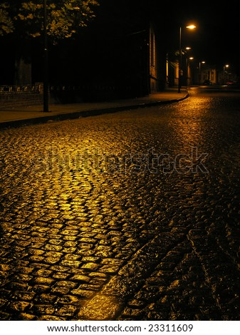Old, urban way in Tarnowskie Gory (Poland) - stock photo