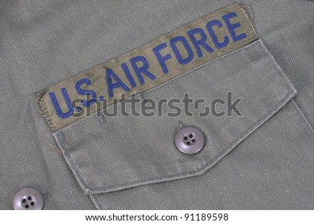 old us air force uniform with badge - stock photo