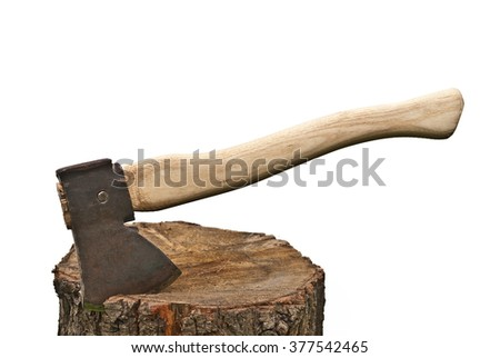 old used ax with fog isolated on the white - stock photo