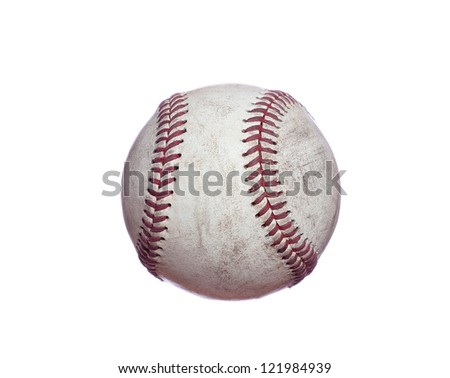 old used baseball - stock photo
