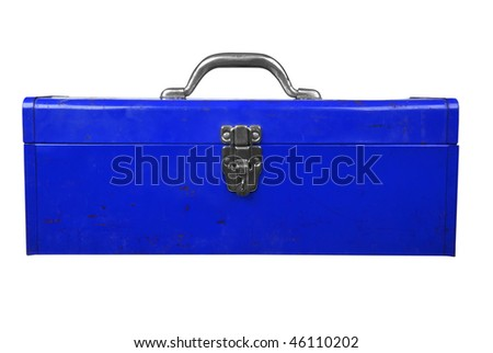 Old used blue toolbox over a white background - stock photo