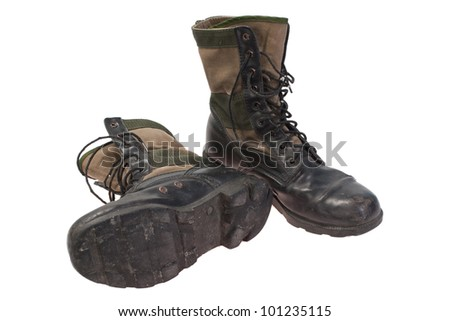 old used  boots vietnam war period isolated - stock photo