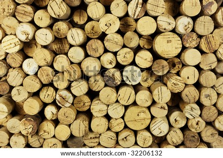 Old used corks with mellowed look. - stock photo