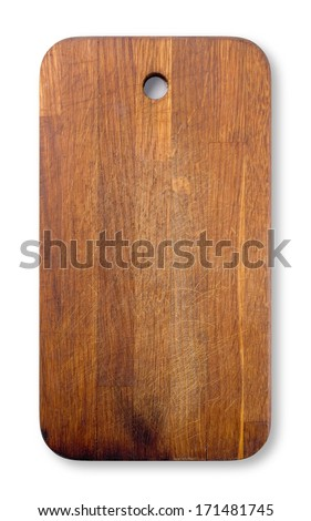 Old used cutting wooden board isolated on white background. - stock photo