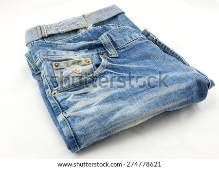 old used jeans trousers isolated  - stock photo