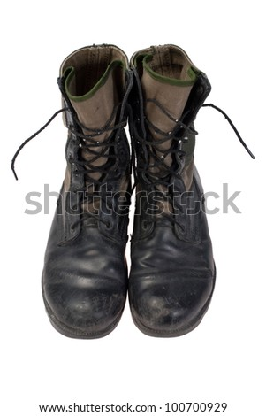 old used jungle boots vietnam war period isolated - stock photo