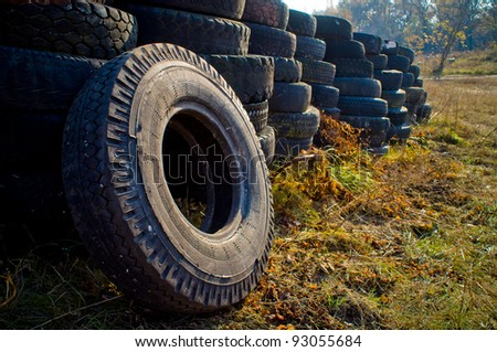 old used tyre - stock photo