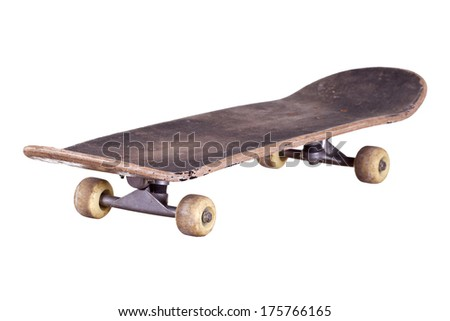 old used wooden skateboard - stock photo