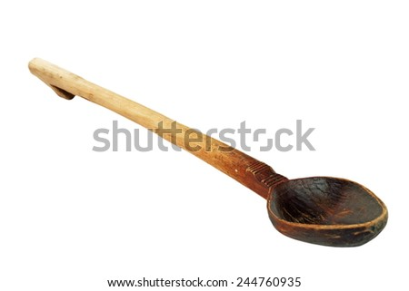 old used wooden spoon isolated over white background, household traditional object - stock photo