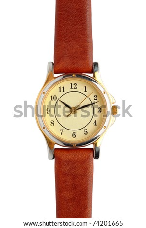 Old used wrist watch isolated on white background - stock photo