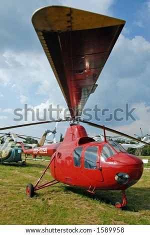 Old ussr helicopter in museum - stock photo