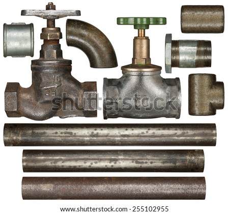 Old valves ant pipes isolated on white - stock photo