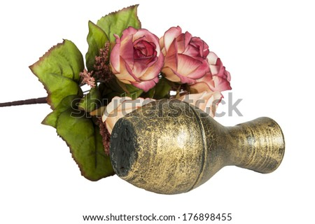 Old vase and flower on white background,rose - stock photo