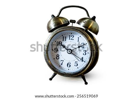 Old vase clock isolated on white background - stock photo