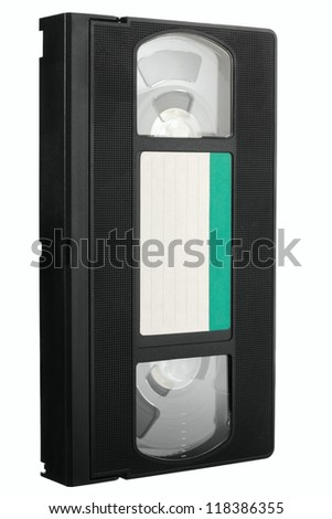 Old VCR video tape with empty label in diagonal view isolated on white background - stock photo