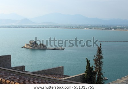 Old Venetian fortress and old prison, Bourtzi, in Argolis bay, Nafplio, Greece
