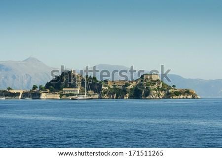 Old Venetian fortress on the Island of Corfu, Greece - stock photo