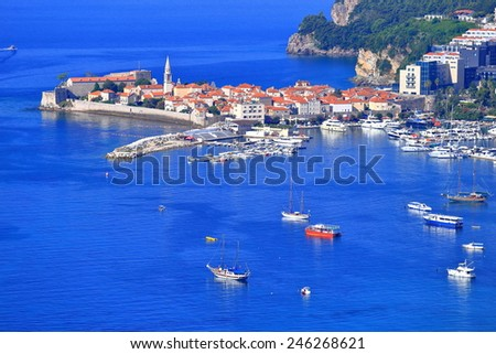 Old Venetian town and harbor surrounded by the Adriatic sea, Budva, Montenegro - stock photo