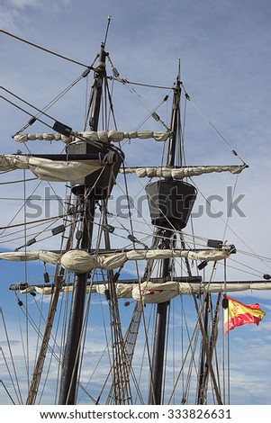 Old vessel sail ship detail close up/Old vessel sail ship - stock photo
