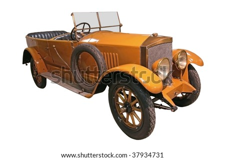 old veteran yellow car isolated on white - stock photo
