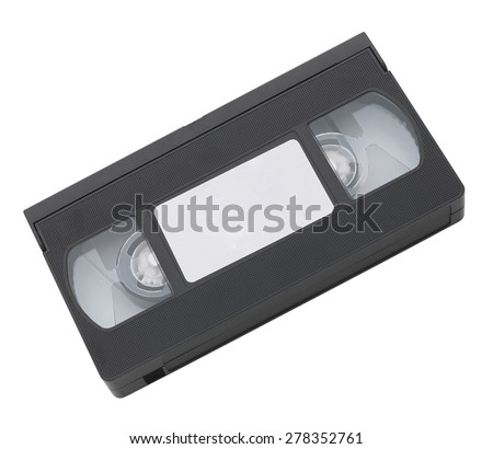 Old VHS video cassette tape with blank label for copyspace - stock photo