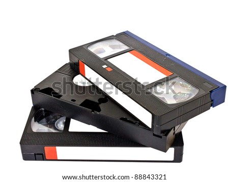 old VHS video cassettes isolated on white with clipping path - stock photo