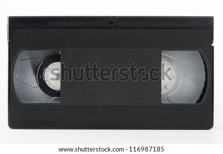 Old VHS Video tape isolated on white background.