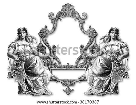 Old Victorian Frame on a White Background .