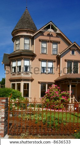 Old Victorian house, now a bed & Breakfast, 19th century home,		Port Townsend,	Pacific Northwest, Washington - stock photo
