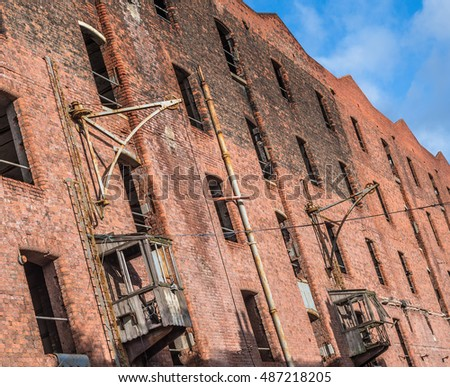Old Victorian warehouse along the dock in Liverpool.