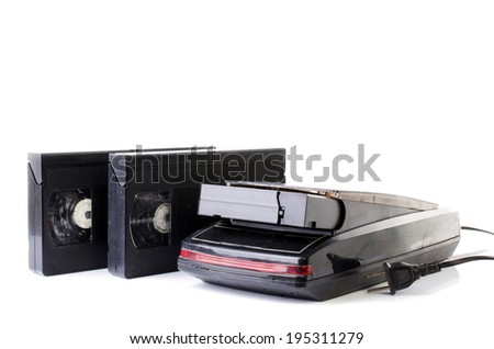 Old Video Cassette and Vintage VHS Rewinder isolate on white background .  - stock photo