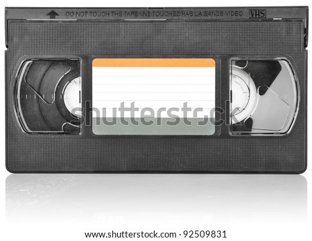 old video cassette isolated on white background - stock photo