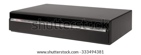 Old video cassette recorder on the white background - stock photo