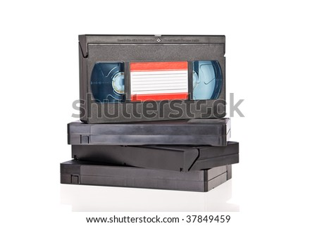 Old Video Cassette tapes isolated on white background