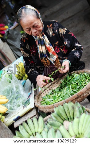 Old Vietnamese woman selling vegetables at a market in Hoi An, Vietnam - travel and tourism. - stock photo