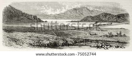 Old view from east of Great Salt Lake, Utah, and Union Pacific railroad across it. Created by Blanchard and Cosson-Smeeton,  published on L'Illustration, Journal Universel, Paris, 1868 - stock photo