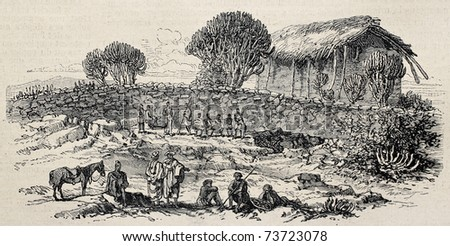 Old view of Adigrat, Abyssinia. Original, from unknown author, was published on L'Illustration, Journal Universel, Paris, 1868 - stock photo