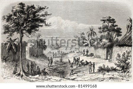 Old view of an African village on the coast. Created by Worms, published on L'Illustration Journal Universel, Paris, 1857 - stock photo