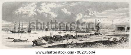 Old view of Bombay bay. Created by Chambeyron, published on L'Illustration Journal Universel, Paris, 1857 - stock photo