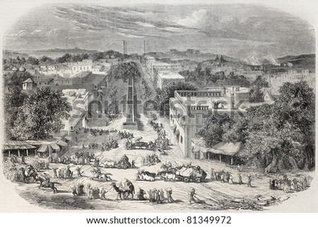 Old view of Chandni Chowk, the major street of Old Delhi. Created by De Bar and De Berard, published on L'Illustration, Journal Universel, Paris, 1857 - stock photo