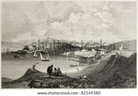 Old view of Corfu and Manduchio from the Mount Olivet. Created by Bentley and Sands, published on Il Mediterraneo Illustrato, Spirito Battelli ed., Florence, Italy, 1841 - stock photo