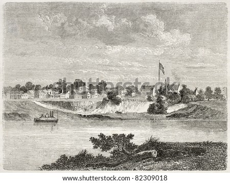 Old view of Forth Smith and Arkansas river, Arkansas. Created by Lancelot after report made under the direction of the U.S. secretary of the war. Published on Le Tour du Monde, Paris, 1860 - stock photo