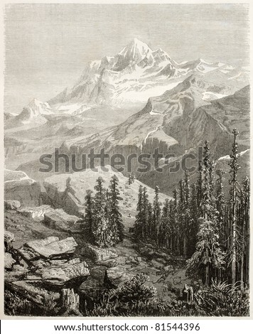 Old view of Gauri Sankar, mountain in Himalayas. Created by Grandsire after Schlagintweit, published on Le Tour du Monde, Paris, 1860 - stock photo