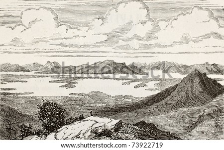 Old view of Great Salt Lake, Utah. Original, from unknown author, was published on L'Eau, by G. Tissandier, Hachette, Paris, 1873 - stock photo