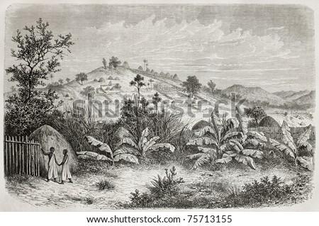 Old view of Kiboga, Uganda. Created by De Bar, published on Le Tour du Monde, Paris, 1864 - stock photo